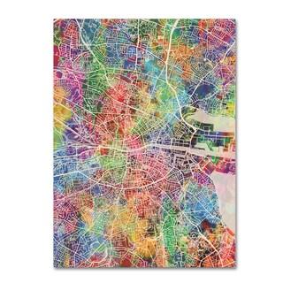 Michael Tompsett 'Dublin Ireland City Map' Canvas Art