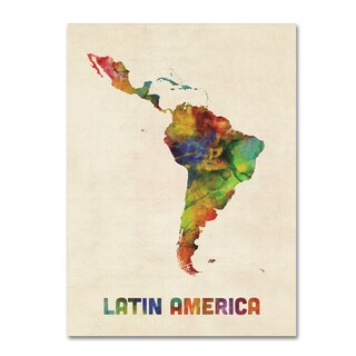 Michael Tompsett 'South America Watercolor Map' Canvas Art