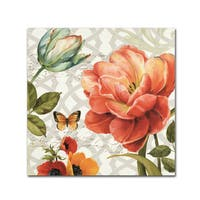 Lisa Audit 'Floral Story III on Grey' Canvas Art