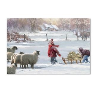 The Macneil Studio 'Feeding Sheep' Canvas Art