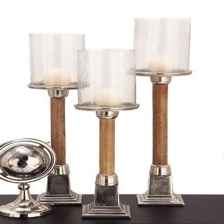 Urban Designs Risto Wood Metal Candle Holder - Set of 3