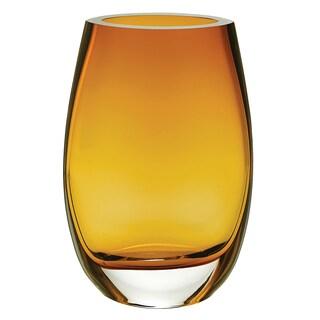"European Mouth Blown Crescendo Oval Amber 7.5"" Vase"