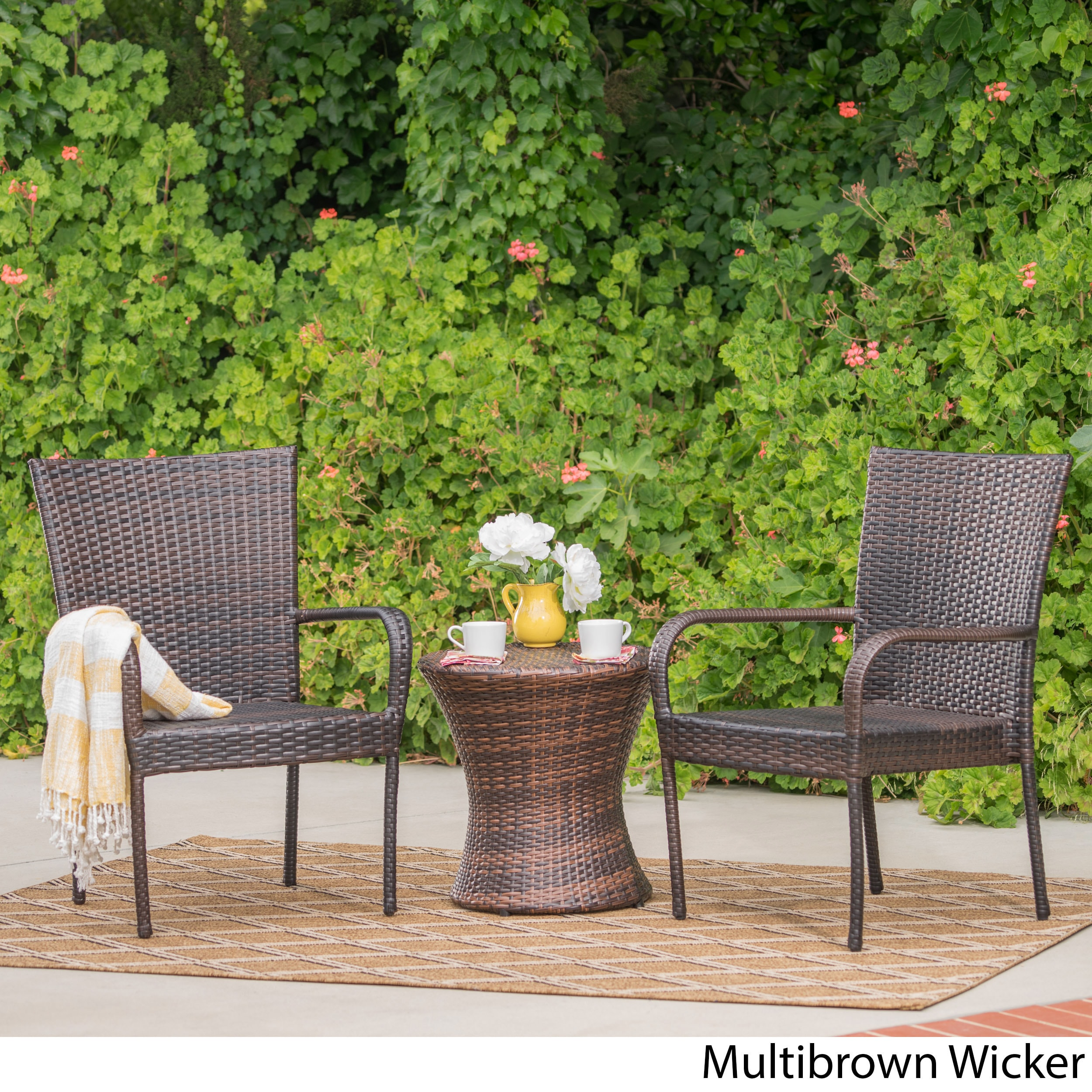 Polk Outdoor 3-piece Round Wicker Bistro Set by Christopher Knight ...