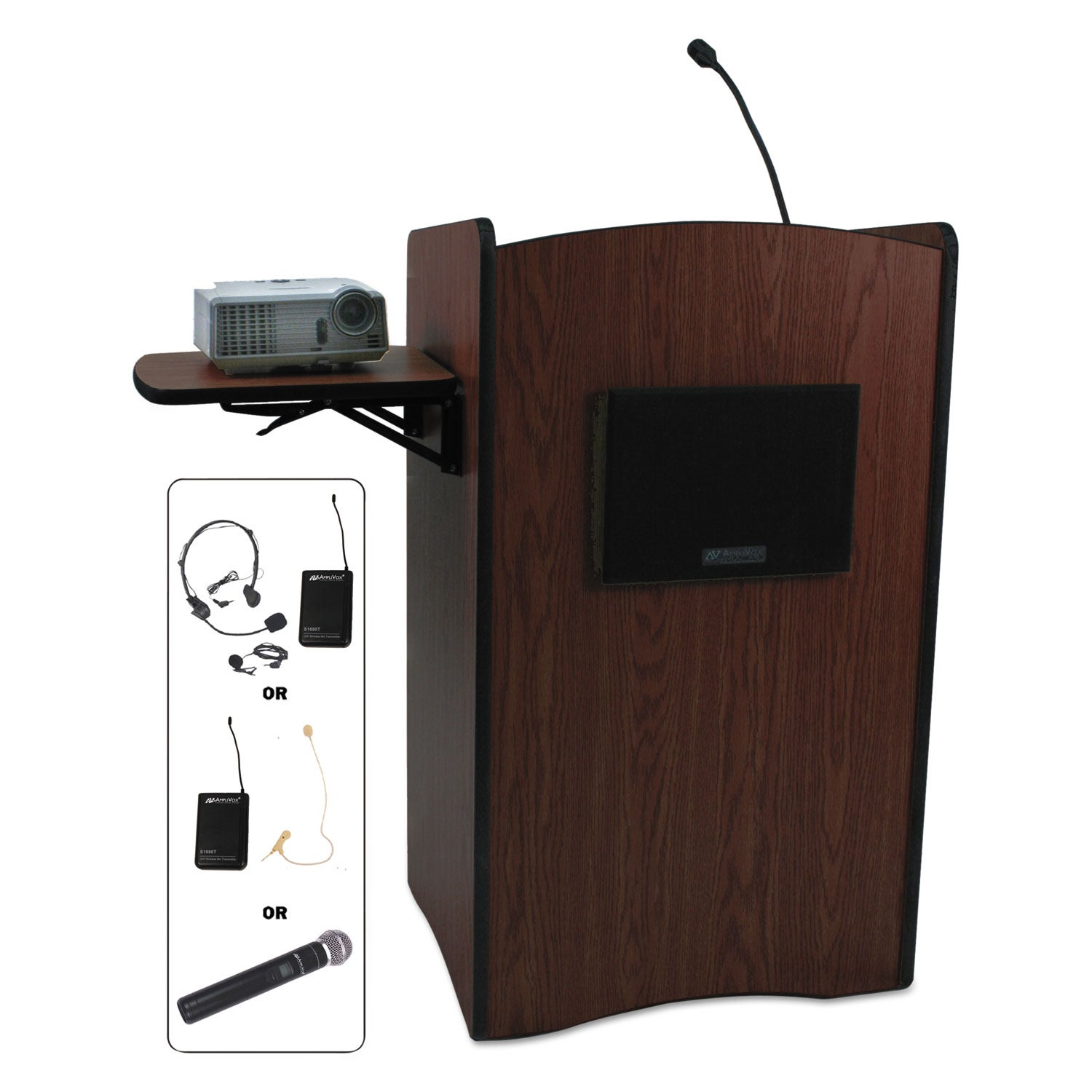 AmpliVox UHF Wireless Multimedia Computer Lectern