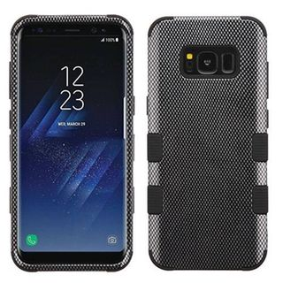 Insten Black Carbon Fiber Tuff Hard Snap-on Dual Layer Hybrid Case Cover For Samsung Galaxy S8