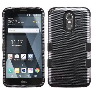 Insten Black Carbon Fiber Tuff Hard Snap-on Dual Layer Hybrid Case Cover For LG Stylo 3 Plus