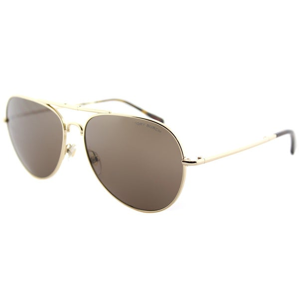 0102482fde Tory Burch TY 6054 322473 Light Gold Metal Aviator Sunglasses Brown Lens.  Click to Zoom