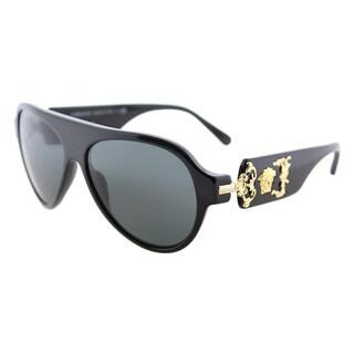 Versace VE 4323 GB1/87 Black Plastic Aviator Sunglasses Grey Lens