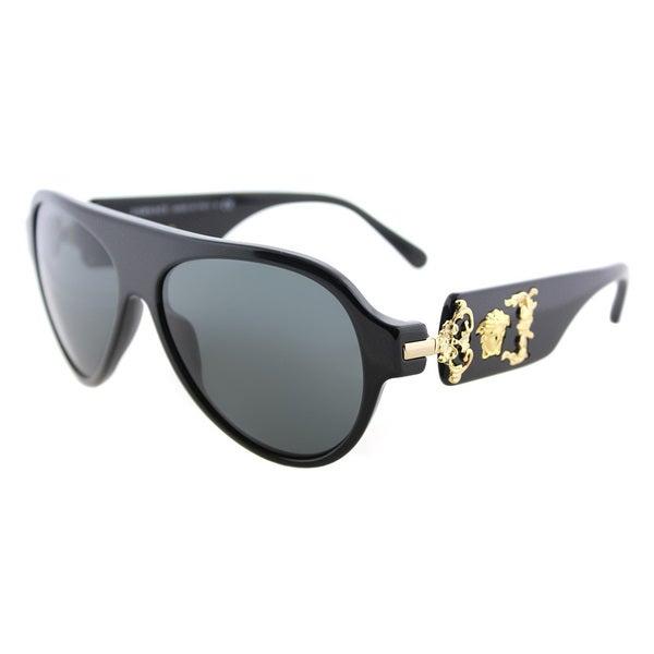 24b862e743292 Shop Versace VE 4323 GB1 87 Black Plastic Aviator Sunglasses Grey ...