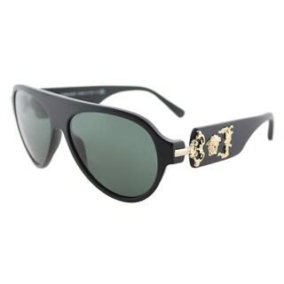 Versace VE 4323 507971 Sand Black Plastic Aviator Sunglasses Green Lens