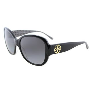Tory Burch TY 7108 1653T3 Black on White Zig Zag Plastic Square Sunglasses Grey Gradient Polarized Lens