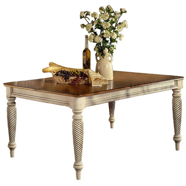 Hillsdale Furniture Wilshire White And Brown Wood Rectangle Dining Table