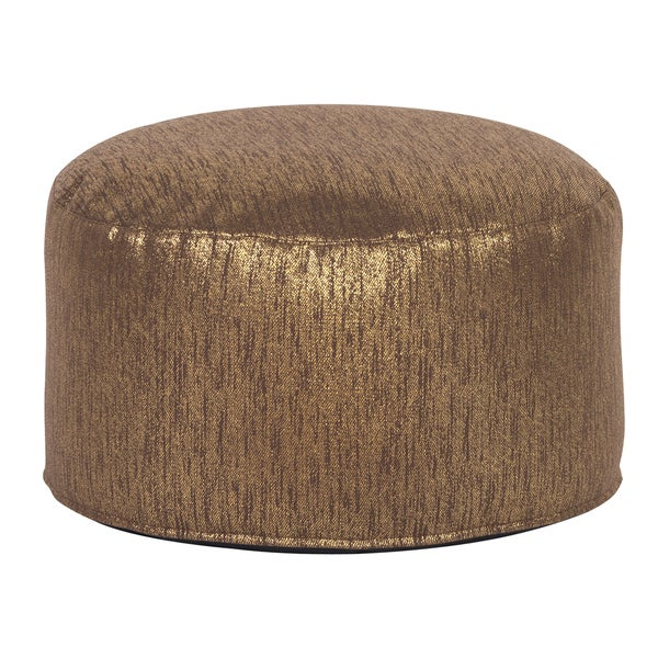 Glam Chocolate Gold Faux Suede Foot Pouf