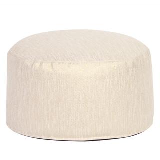 Cream Faux Suede Pouf Ottoman