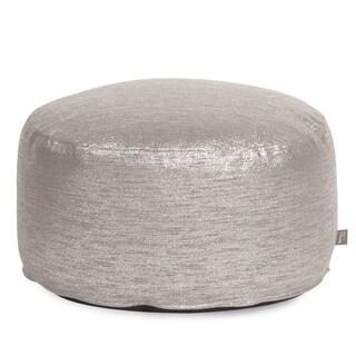 Silver Fabric Pouf Ottoman
