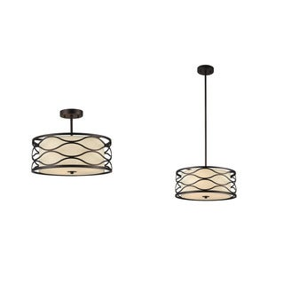 Chloe Gwen Collection 3-light Oil Rubbed Bronze Semi-Flush Mount/Pendant
