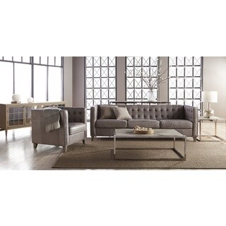 Rivermede Grey Leather Tufted Nailhead Sofa