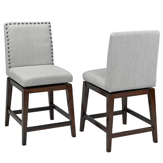 Shop Brassex Ivy Grey Fabric 24 Inch Swivel Bar Stool Set Of 2