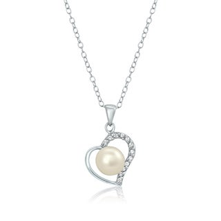 Pearlyta Sterling Silver Heart Pearl and CZ Pendant Necklace - White