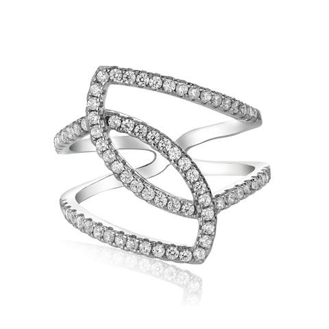 Pearlyta Sterling Silver Elegant CZ Cubic Zirconia Ring with Geometric Design