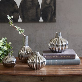 INK+IVY Bartlett Silver Ceramic Vase Set of 4