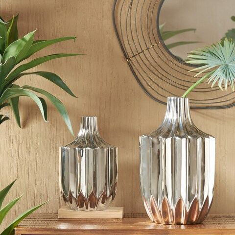 INK+IVY Bartlett Silver Ceramic Vases Set of 2