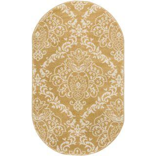 "Ellie Modern French Floral Trellis Gold Oval Area Rug - 2'6"" x 4'2"""