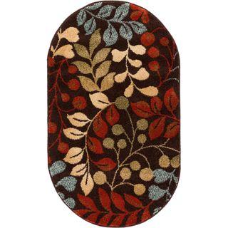 Ellie Modern Floral Leaves Tropical Brown Oval Area Rug (2'7 x 4'2 Oval)