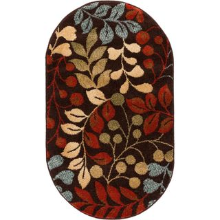 """Well Woven Ellie Modern Floral Leaves Tropical Brown Oval Rug - 2'6"""" x 4'2"""""""