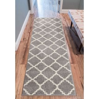 Ellie Modern Bold Trellis Diamond Pattern Grey Runner Rug (2'7 x 9'10)