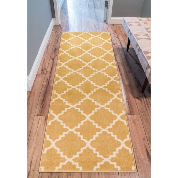 "Well Woven Ellie Modern Bold Trellis Diamond Pattern Gold Runner Rug - 2'3"" x 7'3"""