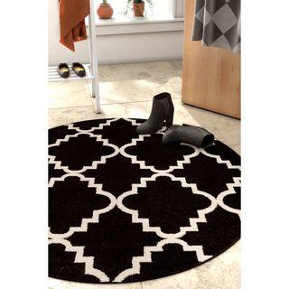 Ellie Modern Bold Trellis Diamond Pattern Black Round Area Rug (5'3 Round)