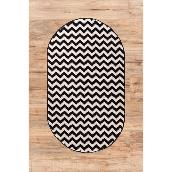 Ellie Modern Chevron Zig Zag Black Oval Area Rug 2 X27