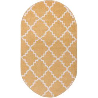"Ellie Modern Bold Trellis Diamond Pattern Gold Oval Area Rug - 2'6"" x 4'2"""