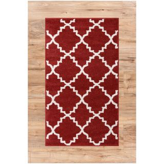 Ellie Modern Bold Trellis Diamond Pattern Burgundy Area Rug (2'3 x 3'11)