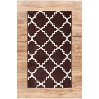 Ellie Modern Bold Trellis Diamond Pattern Brown Area Rug (2'3 x 3'11)