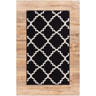 Ellie Modern Bold Trellis Diamond Pattern Black Area Rug (2'3 x 3'11)