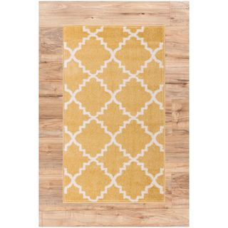 Ellie Modern Bold Trellis Diamond Pattern Gold Area Rug (2'3 x 3'11)
