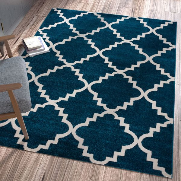 Ellie Modern Bold Trellis Diamond Pattern Blue Area Rug - 9'3 x 12'6