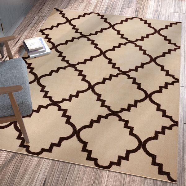 Well Woven Ellie Modern Bold Trellis Diamond Pattern Ivory Area Rug - 9'3 x 12'6
