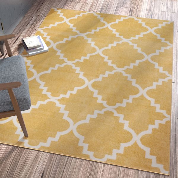 Ellie Modern Bold Trellis Diamond Pattern Gold Area Rug - 9'3 x 12'6