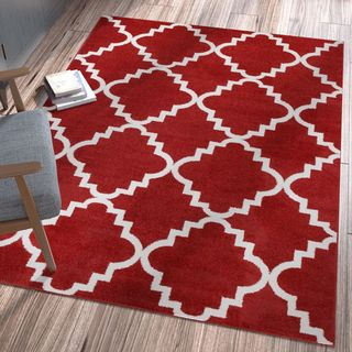 Ellie Modern Bold Trellis Diamond Pattern Burgundy Area Rug (7'10 x 10'6)