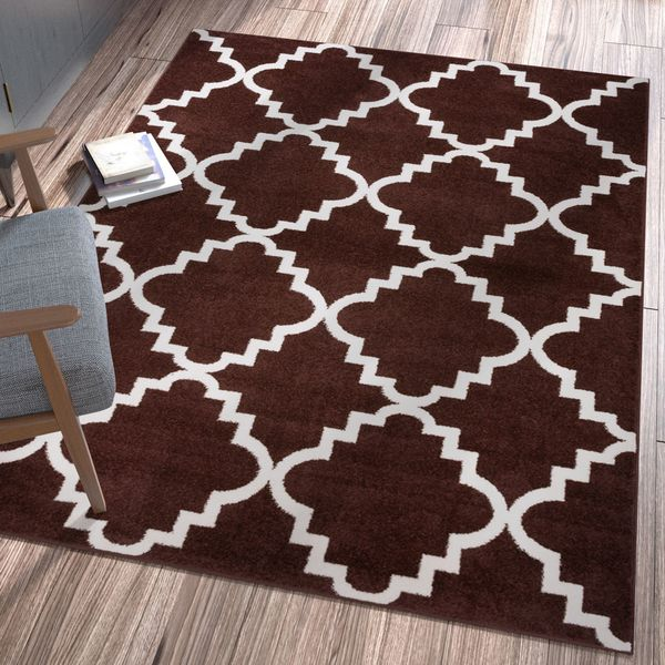 "Ellie Modern Bold Trellis Diamond Pattern Brown Area Rug - 7'10"" x 10'6"""