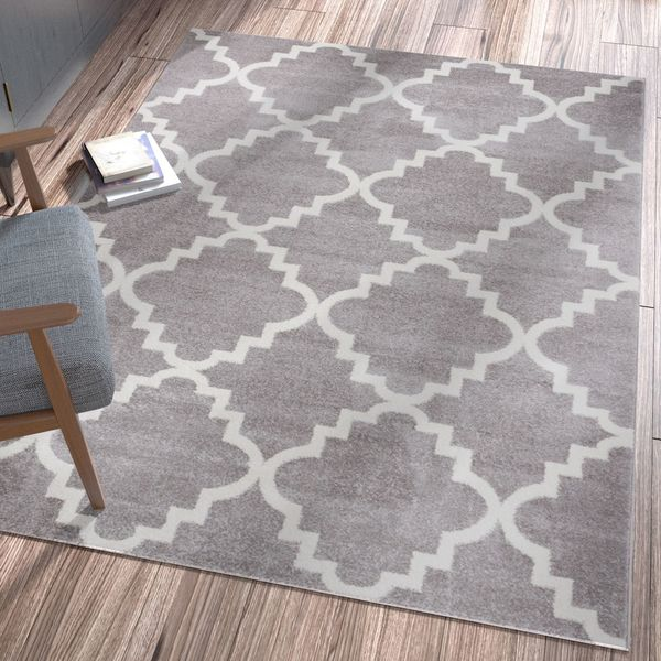 "Well Woven Ellie Modern Bold Trellis Diamond Pattern Grey Area Rug - 7'10"" x 10'6"""