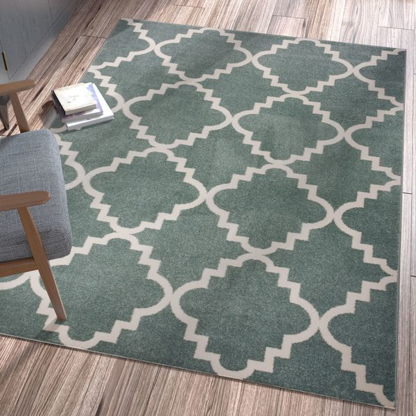 "Well Woven Ellie Modern Bold Trellis Diamond Pattern Light Blue Area Rug - 7'10"" x 10'6"""