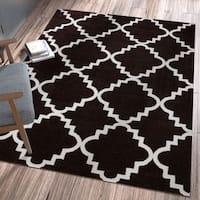 "Ellie Modern Bold Trellis Diamond Pattern Black Area Rug - 7'10"" x 10'6"""