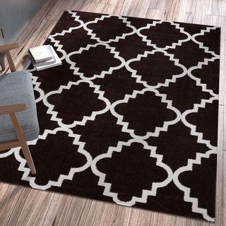 Ellie Modern Bold Trellis Diamond Pattern Black Area Rug (5'3 x 7'3)