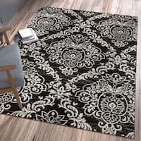 Ellie Modern French Floral Trellis Black Area Rug - 5'3 x 7'3