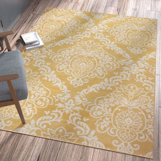 Ellie Modern French Floral Trellis Gold Area Rug (5'3 x 7'3)