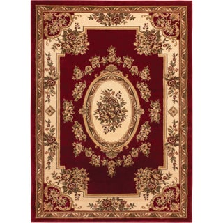 Well Woven Agra Traditional French Country Aubusson Floral Mansion Area Rug - XL (Option: Red/Beige)